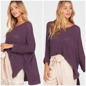 Plum Ribbon Oversized Loose Knit Sweater Size M/L